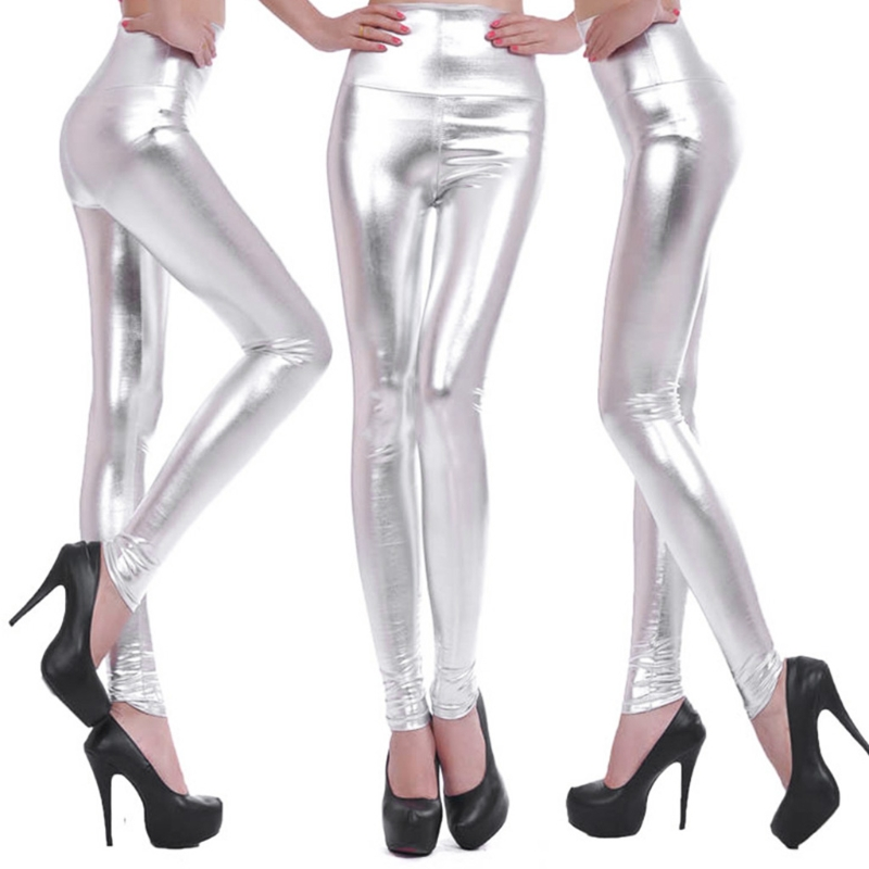 Women High-Waisted Faux Leather Shiny Silver Gold  Stretch Leggings