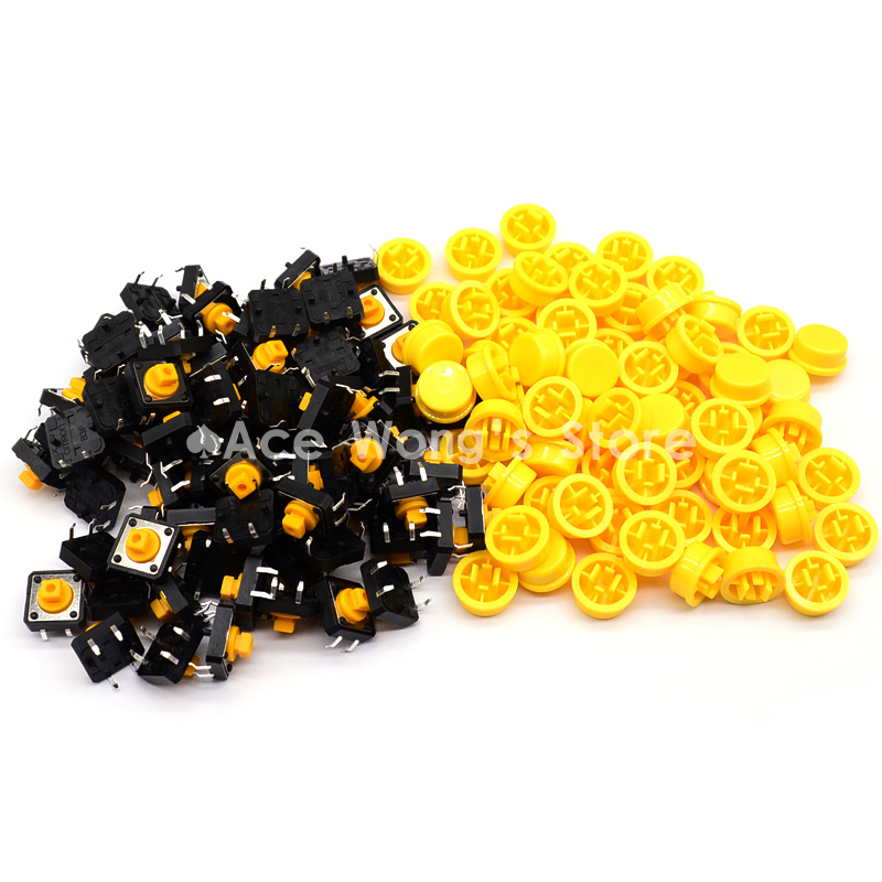 Free shipping,100PCS Tactile Push Button Switch Momentary 12*12*7.3MM Micro switch button + (100pcs Yellow Tact Cap) 50pcs lot 6x6x4 3mm 4pin smt g88 tactile tact push button micro switch self reset dip top copper free shipping