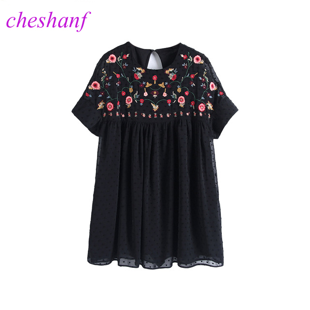 Cheshanf Loose Black Floral Chiffon Embroidery Playsuits Women 2017 Embroidered Backless Summer Short Jumpsuit Hollow Out