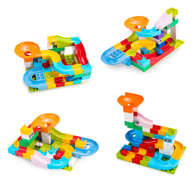 Kitoz Big Size Marble Race Run Maze Ball Track Funnel Slide Building Block Brick Educational Toy Compatible with Lego Duplo 3