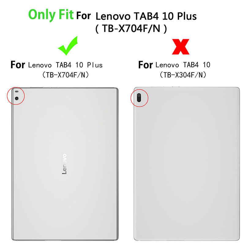 "Case For Lenovo TAB4 Tab 4 10 Plus TB-X704L Cases 10.1"" TB-X704F TB-X704N Smart Cover Funda Tablet PU Leather Shell +Film+Pen"