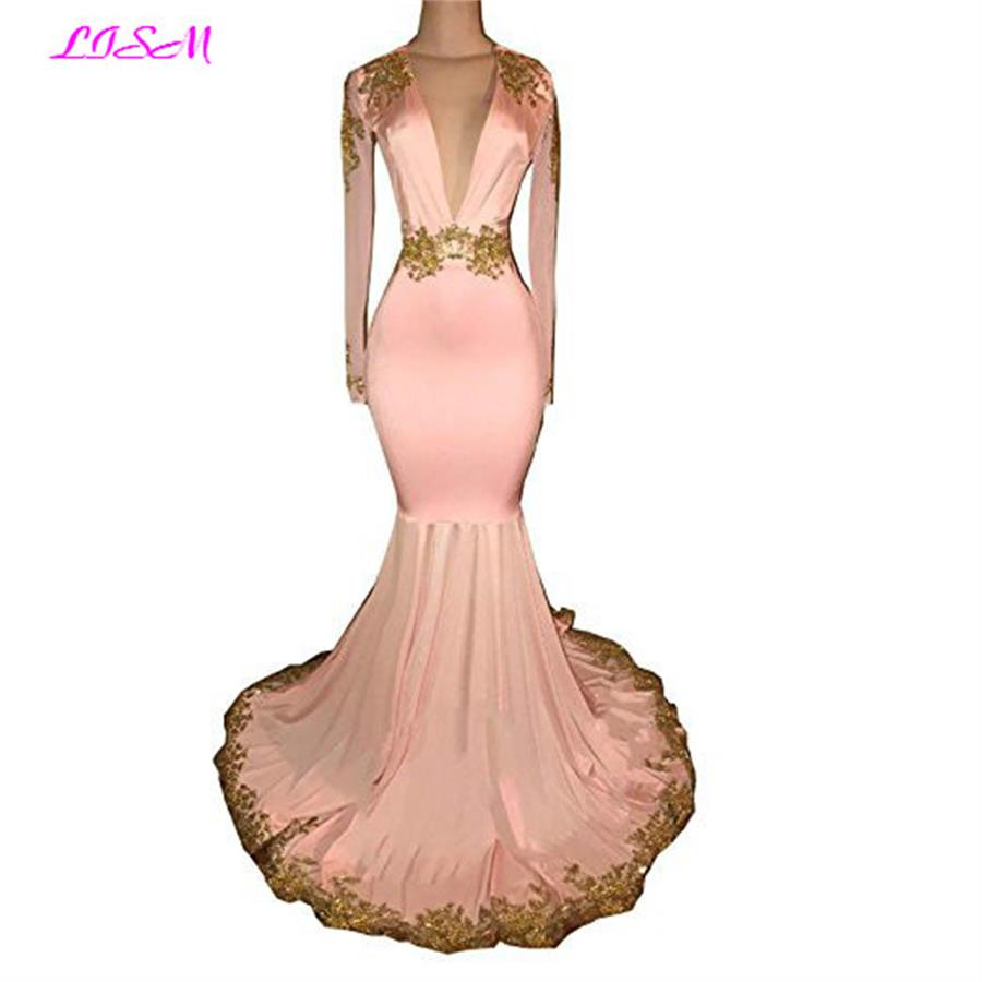 Sexy Mermaid   Prom     Dress   Deep V-Neck Gold Appliques Long Evening Gowns Pink Long Sleeves Open Back Party   Dresses   robe de soiree