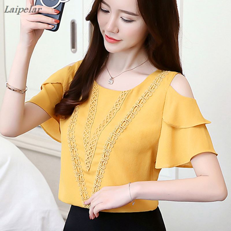 2018 Women Off Shoulder Blouses Chiffon Shirts Short Sleeve Casual Ladies Clothing Lace Female Blusas Women Tops Elegant Blusas in Blouses amp Shirts from Women 39 s Clothing