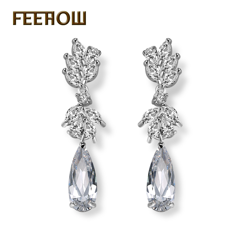 FEEHOW New Arrival Luxury Brand Rose Gold Color Drop Earrings AAA Zircon High Quality Da ...