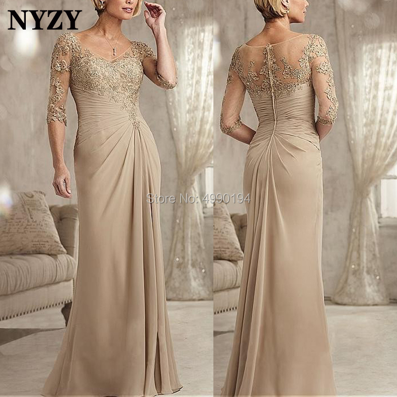 NYZY M145 Elegant V Neck 1/2 Sleeves Pleated Chiffon Lace Long Dresses Evening Party Champagne Mother Of The Bride Dresses 2019