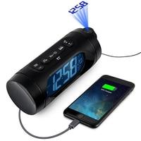 FM Radio Alarm Clock LED Digital Electronic Desk Table Projector Watch With Night Light Snooze Nixie Clock USB Charging,