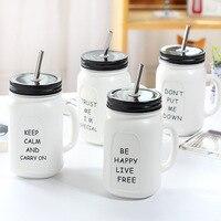 420 ML Creative מילות באנגלית ופירות ספל קרמיקה עם כוס קפה מתנת זאקה קש נירוסטה מיץ לימון תה שתיית