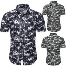 Social Shirt Linen Cotton Coconut tree Hawaiian for Man Short-sleeved Blouse Mens Clothes Slim fit Green Blue Summer New