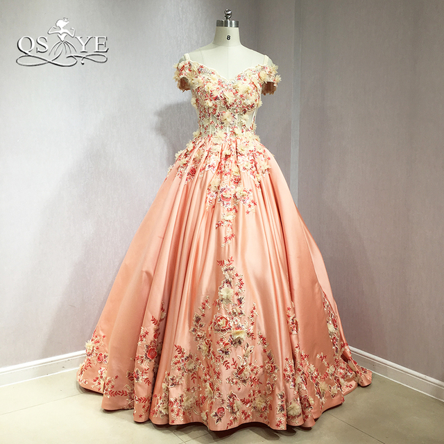 c8fa85742cc3 QSYYE 2018 3D Flower Long Prom Dresses Elegant Off Shoulder Sweetheart  Floral Lace Sweep Train Satin Evening Dress Party Gown