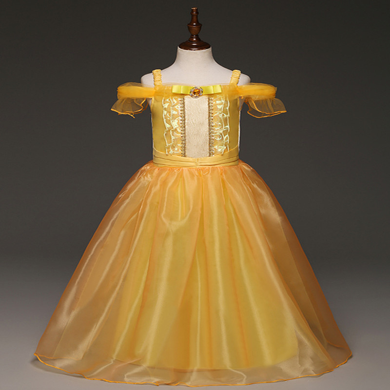 Girls Dress Kids Yellow Shoulder Princess Party Dress Beauty and the Beast Belle Cosplay Kid Long Halloween Cartoon Fancy Dress nnw beauty and the beast belle cosplay princess fancy kids costumes grils yellow dresses with sleeve hight quality