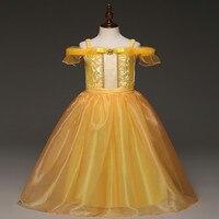 Vestido de las muchachas Niños Amarillo Del Hombro Partido de La Princesa Vestido de la Bella y la Bestia Belle Cosplay Larga de Niño de Dibujos Animados de Halloween Vestido de Lujo