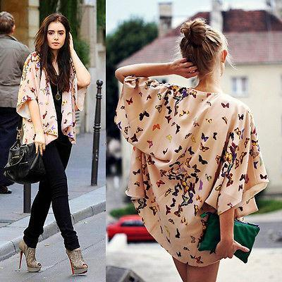 2017 Fashion Women Ladies Butterfly Open Cape Casual Coat Loose ...