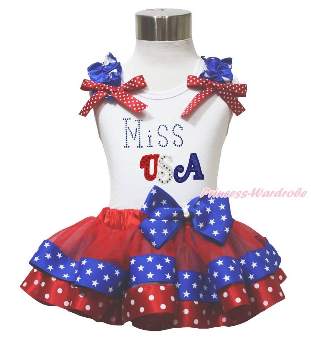 ФОТО Miss USA White Top 4th July Patriotic Star Dot Satin Trim Girls Pettiskirt NB-8Y MAPSA0678
