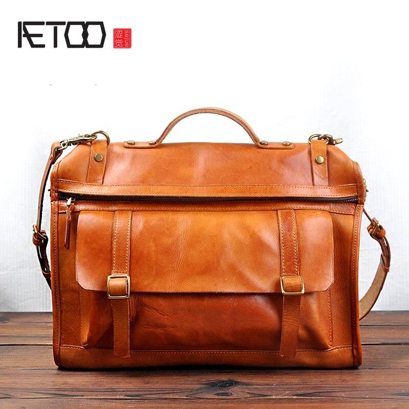 Aetoo новый прилив Корейский оригинальный ретро ручной первый слой из воловьей кожи дубления мужской кожаный мешок сумка