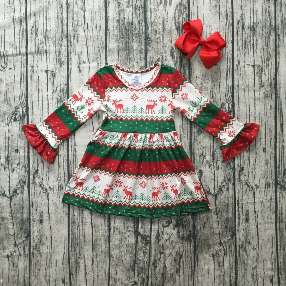 Christmas girls children clothes baby cotton Fall/Winter Aztec reindeer long sleeve ruffles milk silk dress boutique match bow new fall winter baby girls milk silk cotton dress navy perple floral flower striped ruffle long sleeve children clothes boutique