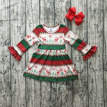 Christmas girls children clothes baby cotton Fall/Winter Aztec reindeer long sleeve ruffles milk silk dress boutique match bow(China)