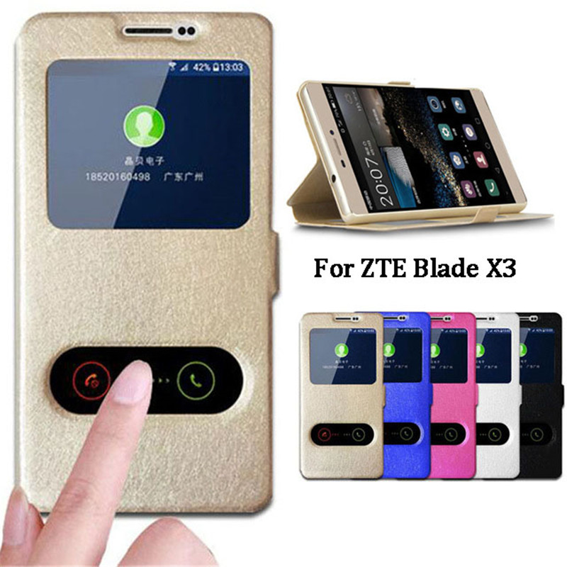 For zte blade x3 case cover quick answer view window stand phone cases for fundas zte blade a452 - Fundas zte ...