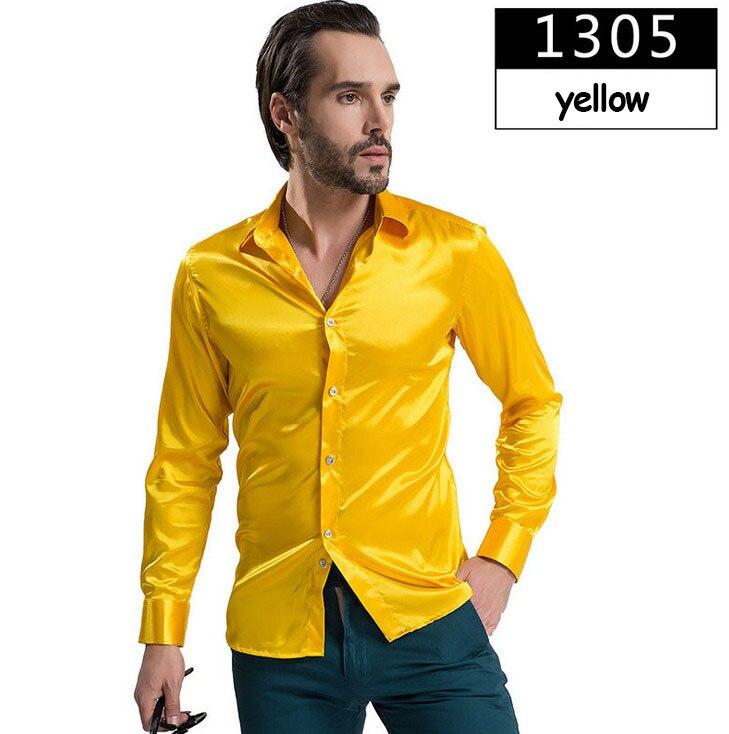 ZOEQO новая рубашка-смокинг для мужчин, 12 цветов, шелковое мужское однотонное платье с длинными рукавами, рубашка с запонками, мужские рубашки camisetas masculinas - Цвет: 1305 yellow
