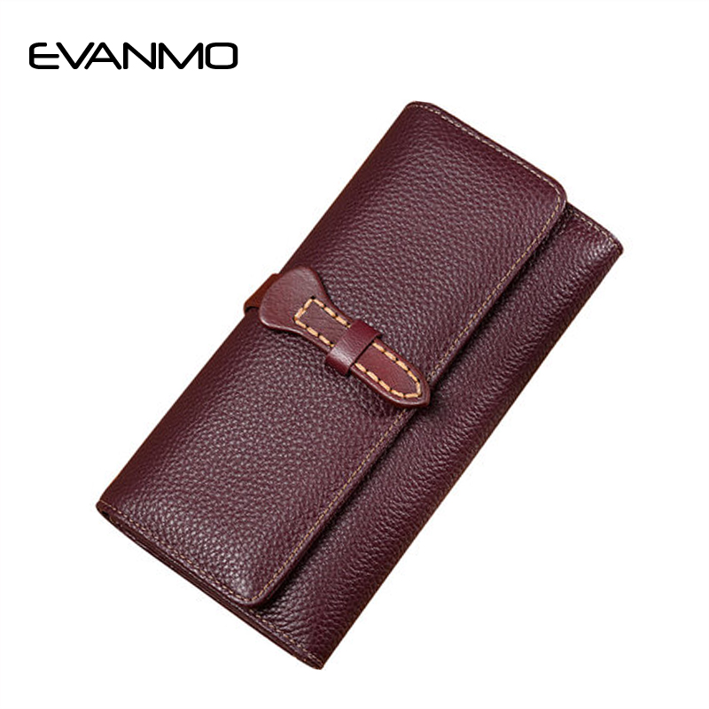 Hot Women Wallets Genuine Leather Clutch Large-capacity Soft Leather Purse High Quality Women Zipper Wallets Carteira Feminina