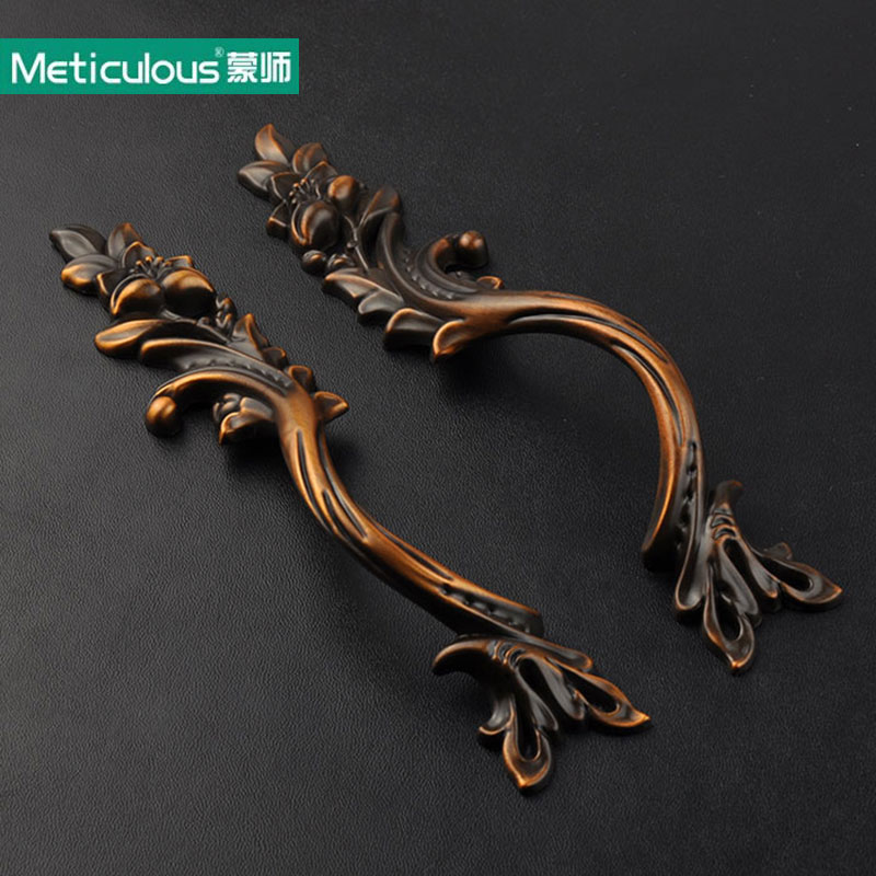 Meticulous Antique Black Coffee Handles rustic drawer knobs Kitchen Cabinet Knob Vintage Furniture Handle Cupboard pulls 2PCS 128mm phoenix kitchen cabinet antique hanles furniture dresser vintage knob cabinet cupboard closet drawer handle pulls rongjing