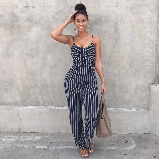 fa98a2d8266f Elegant Striped Sexy Spaghetti Strap Rompers Womens Jumpsuit Sleeveless  BacklessBow Wide legs Jumpsuits Leotard Overalls WS  40