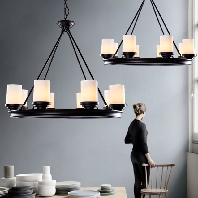 LED Moderne Holz Kronleuchter Für Esszimmer Kronleuchter Decke E27 Glas  Lampenschirm