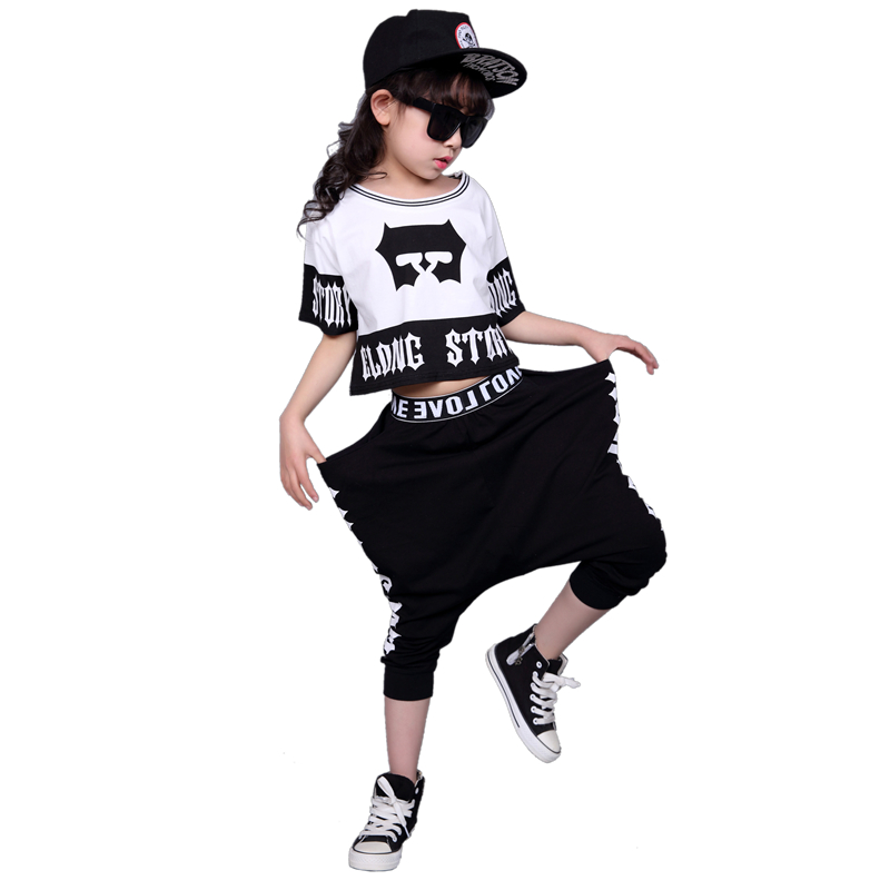 3T-12T Girls HipHop Dance Clothes Short-sleeved t shirt+Haren trouser fashion Kids sports Suit girl Children Clothing Sets