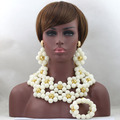 White Costume African Jewelry Sets  Gold Plated Nigerian Beads Wedding Jewelry Set Big Balls Bridal Jewelry Set  WD290