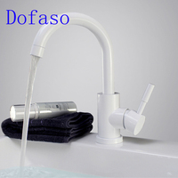 Dofaso White Lavatory Faucet And Black Sink Faucet White Kitchen Tap Mixters