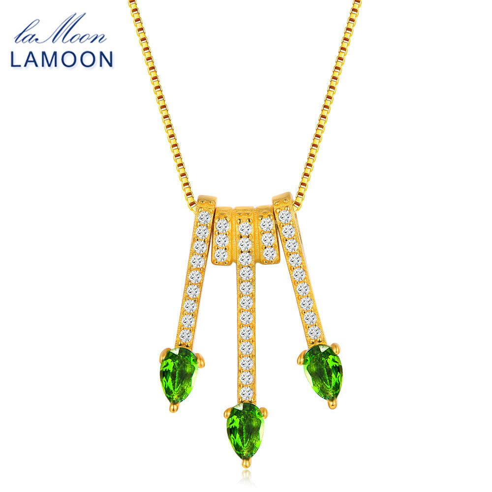 Lamoon 2017 New Pear-Shaped Real Natural Diopside Gemstone Chain Arrows Pendant Necklace ...
