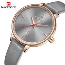 NAVIFORCE relojes de mujer superior de la marca de lujo de moda mujer reloj de pulsera de cuarzo de cuero de las señoras, reloj a prueba de chica Relogio femenino