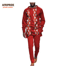 2017 african autumn 2-pieces suit for men AFRIPRIDE full sleeve O-neck top+ankle length slim pant casual men's suit A731605