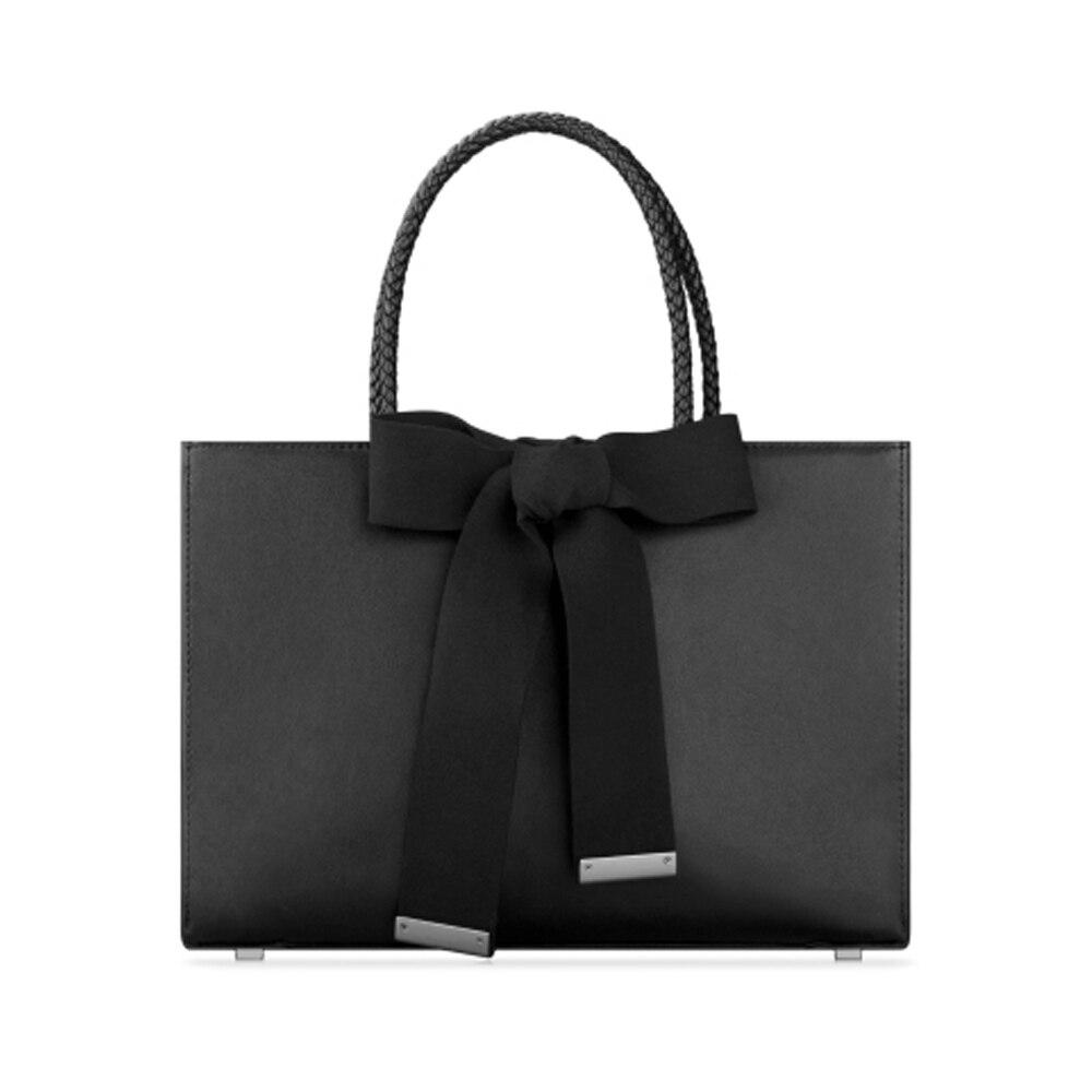 все цены на Genuine Leather Women Bag Single Shoulder Handbag with Butterfly Knot Simple Fashion Commuter Bag