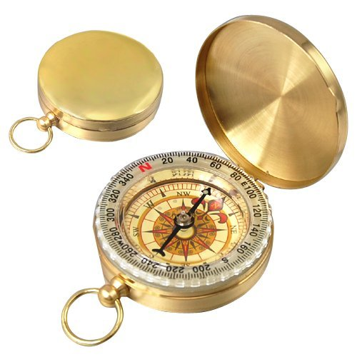 5 PCS JHO-Easy Classic Metal Brass Pocket Watch Style Camping Compass Outdoor Tools  Gift