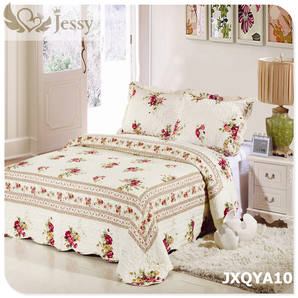 Bed sheet design patchwork - Patchwork Quilt Bed Sheet Set With Two Pillowcase Bedding Set Super King Cotton Padded Lace Mattress
