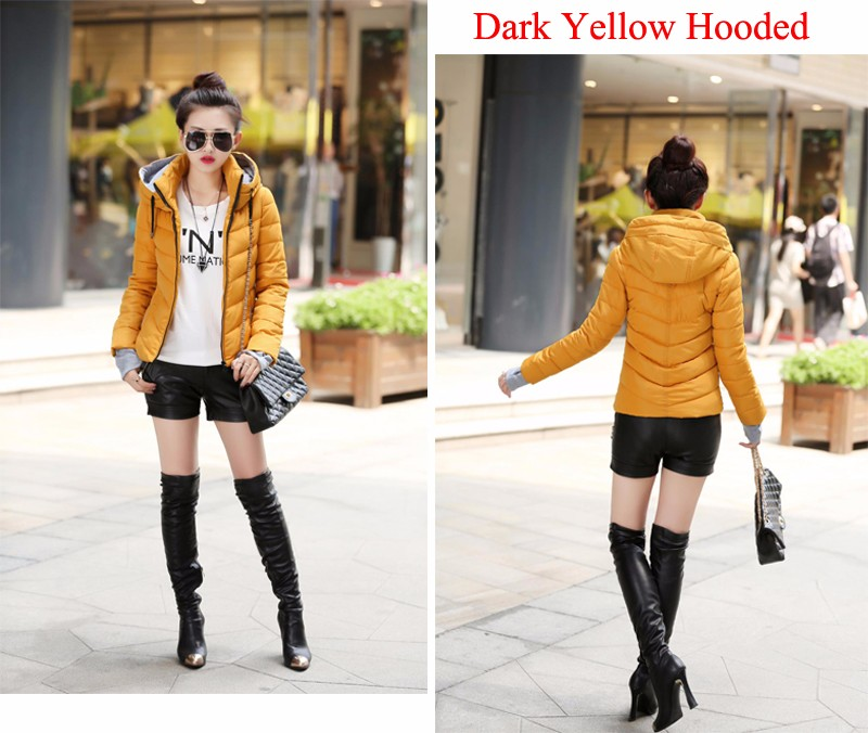 Winter Jacket Women Parkas Thicken Outerwear solid hooded Coats Short 45