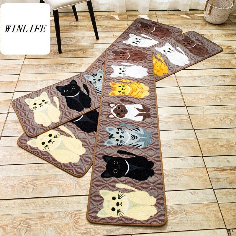 Tapis de Style dessin animé WINLIFE tapis de chats adorables pour chambre tapis antidérapants pour salle de bain/cuisine