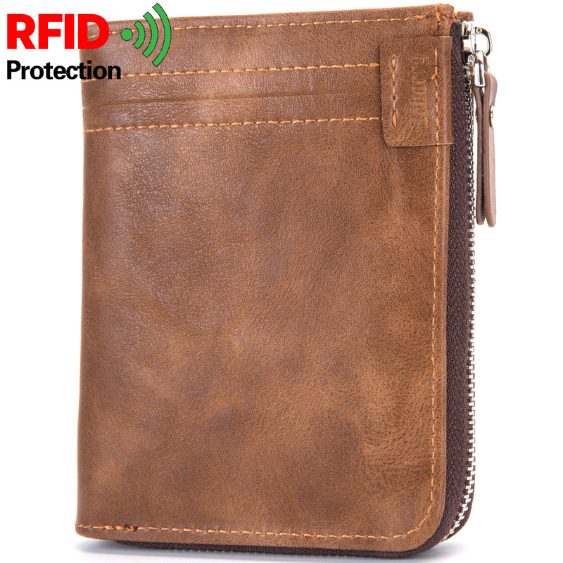 Business Men Wallet RFID Blocking Protection Anti-Theft Scan Men Short Wallet Zipper Coin Case Pouch Casual Leather Money Purse