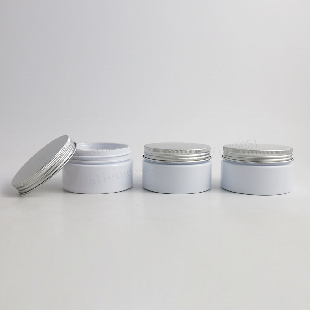 20pcslot 100g Empty White Hand Facial Body Cream Cosmetic Plastic Jars with Aluminum Lids 100 ml Heavy Wall PET Container