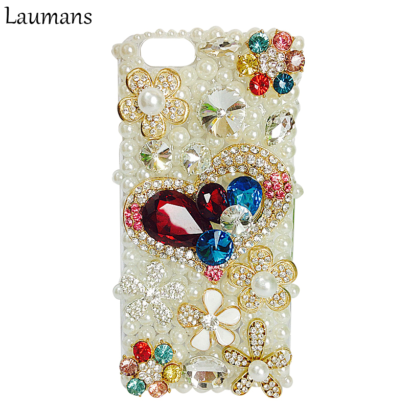 For Iphone 6 6s Case Top Quality Handmade Rhinestone Crystal Diamond Pearls Hard Back Phone Case Cover