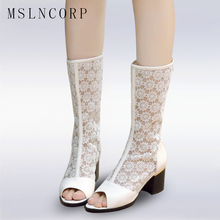 Plus Size 34-48 Spring and summer lace flower net noodles cool boots Thick with Peep Toe womens sandals Zip Fashion Party Boots