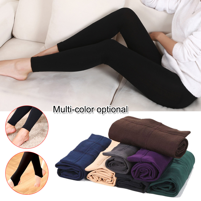 Women Heat Fleece Winter Stretchy Leggings Warm Fleece Lined Slim Thermal Pants Best Sale-WT