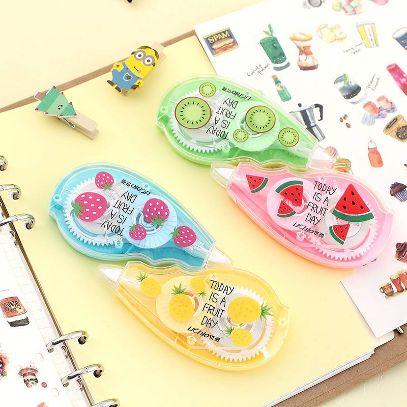 5mm*50M Korean Fruit Transparent Correction Tape Roller Corrector Tape Pen White Out Sticker Student School Supply Stationery