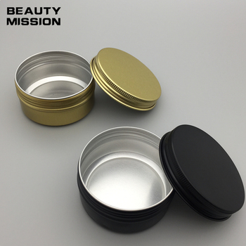 80g gold/black empty aluminum ( Metal ) ointment box 80ml aluminum cream jar cosmetic bottle with screw cap metal container pot