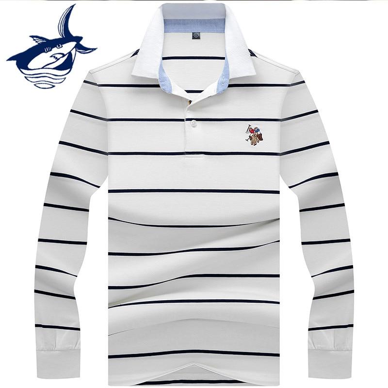 Мужская рубашка-поло Tace & Shark, Повседневная рубашка-поло с длинными рукавами и вышивкой в деловом стиле, весна 2019