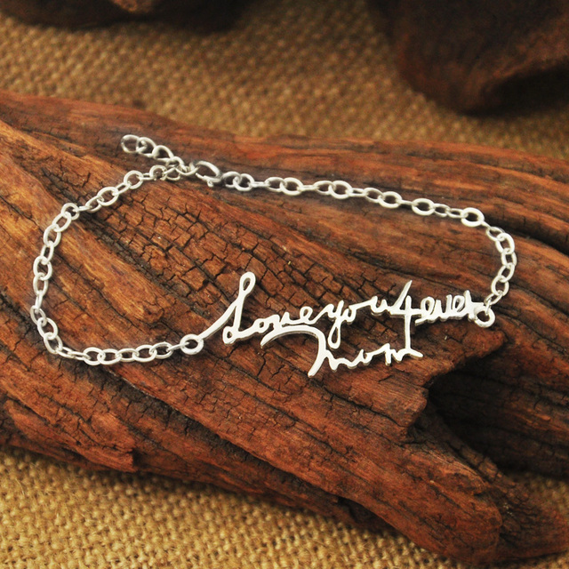 f2969d28d64d2 US $13.99 |Signature Bracelet, Actual Handwriting Bracelet, Memorial  Bracelet , Personalized Jewelry, Name bracelet ,Mothers Day Gift-in Charm  ...