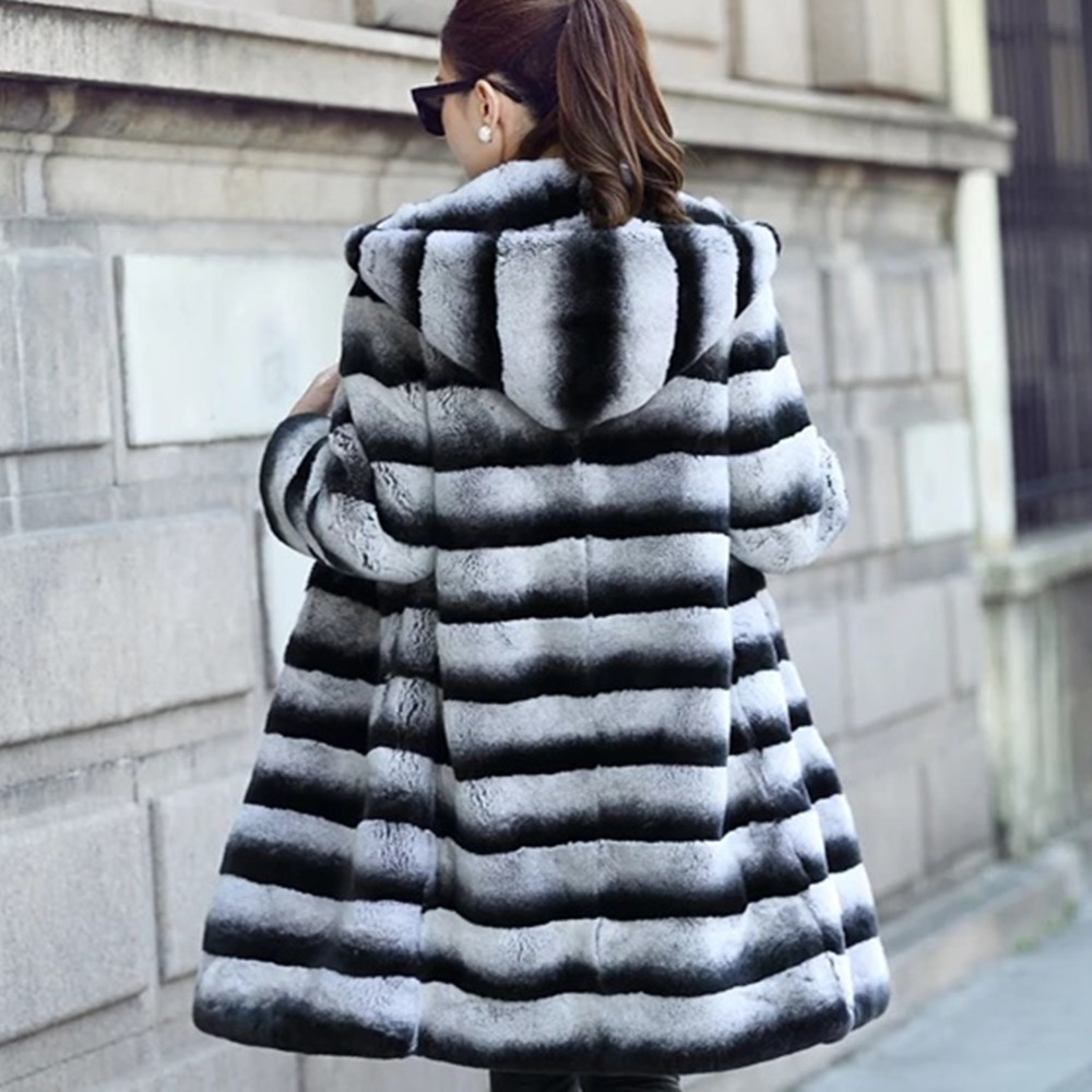 Real  Rex  Fur  Coat Girls Natural Fur  Lexus Rex Rabbit Fur Coat Women Chinchilla