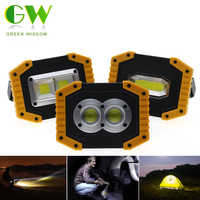 LED Portable Spotlight COB Flood Lights USB Rechargeable Flashlight Work Light Outdoor Portable Searchlight for Hunting Camping
