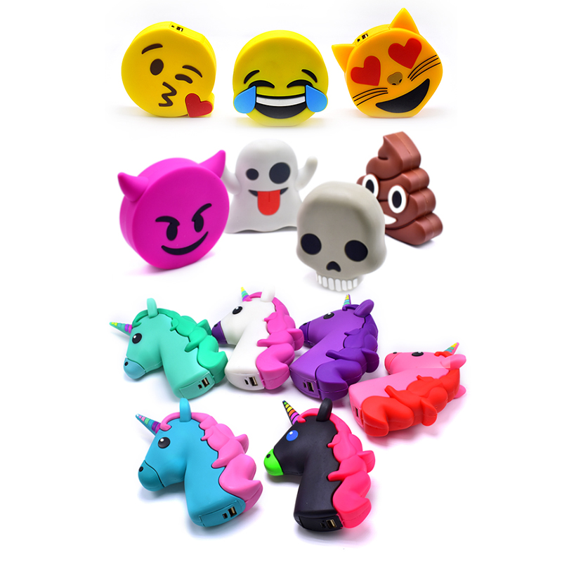 Emoji Power Bank 8800mah Unicorn Cartoon USB Output Battery Charger Cases Portable External Battery Pack Charger