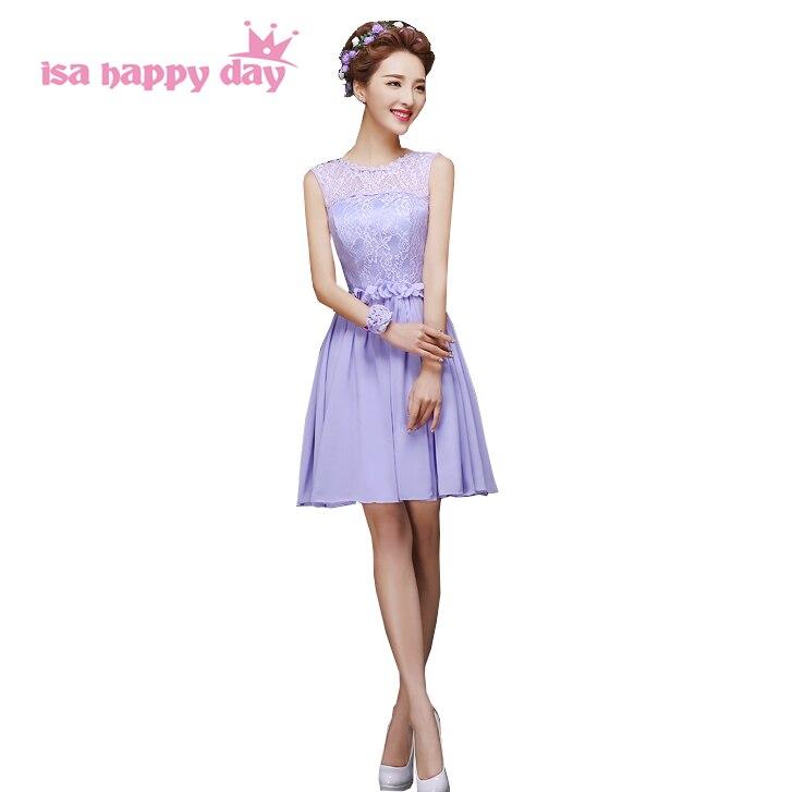 unique short cheap lavender   bridesmaid   A line bridemaid   dresses   bride maids chiffon and lace   bridesmaids     dress   gown H4239